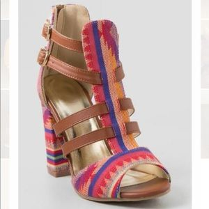 Francesca's Colorful Tribal Pattern Heels